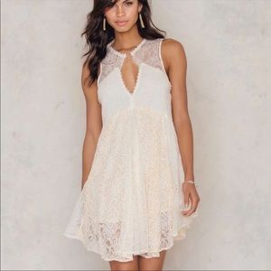Free People Ivory Lace Don't You Dare Dress